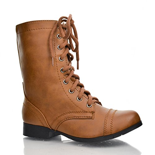 Round Toe Combat Military Side Zipper Lace Up Mid Calf Boots