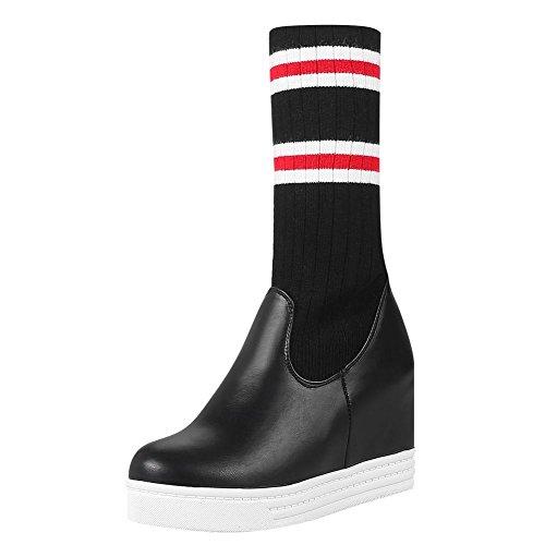 Mee Shoes Damen hidden heels halbschaft mehrfarbig Stiefel Schwarz