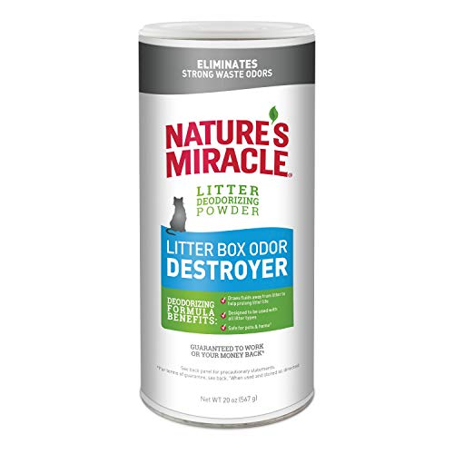 Litter Box Freshener - Nature's Miracle Just for Cats Odor Destroyer Litter Powder, 20 oz