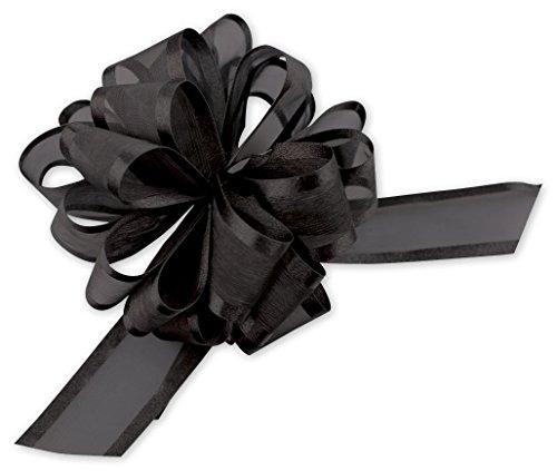 Satin Edge Pull Bow - Bows - Black Sheer Satin Edge Pull Bows, 18 Loops, 1 1/2