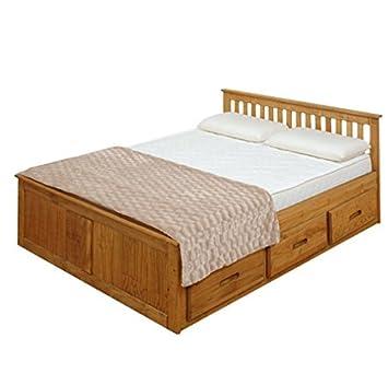 Étonnant Cadre de lit de rangement Pin massif - Finition cirée - Bois EN-38