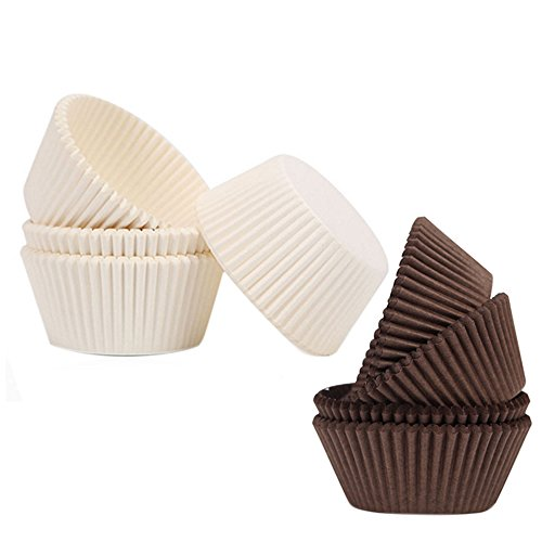 MyLifeUNIT Paper Muffin Liners, Standard Size Cupcake Liner Muffin Baking Cups (200, Brown & White) ()