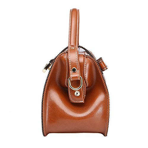 DISSA EQ0888 Damen Leder Handtaschen Satchel Tote Taschen Schultertaschen Braun