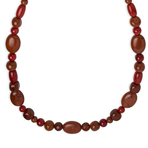(Carolyn Pollack Sterling Silver Red Coral, Japer and Carnelian Gemstone Red Necklace 18 Inch)