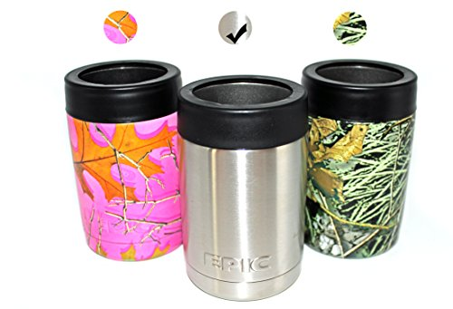 EPIC Beer Can Insulator Cooler - Double Wall Stainless Steel Vacuum Insulated Beverage Colster - Cold Drink Keeper - Keeps drinks cold, 12 oz - Silver