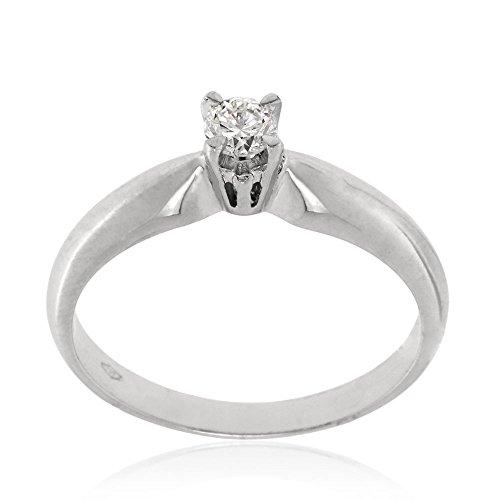 Gioiello Italiano - White gold solitaire ring with 0.17ct diamond ()