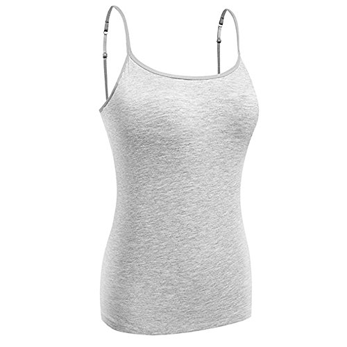 KEALLI Women's Sports Camisole Built-in Bra Adjustable Spaghetti Strap Tank Top Padded Cami Tanks (Molded Cup Camisole)
