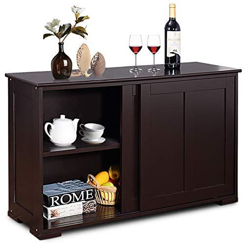 n-bright Storage Cabinet Kitchen Sideboard Buffet Cupboard Wood Sliding Door Pantry