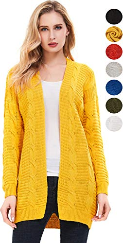 SheSublime Women's Cardigan Long Sleeve Cable Knit Sweater (Medium, ()