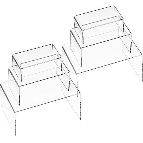 6 Pieces Clear Acrylic Display Riser, Acrylic Jewelry Display Stand, Shelf Showcase Fixtures,7.88 x 4.8 x 4 inch, 5.90 x 3.14 x 2.9 inch,4.72 x 2.36 x 1.96 inch, (Size -