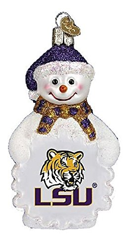NCAA LSU Tigers Glass Snowman Ornament