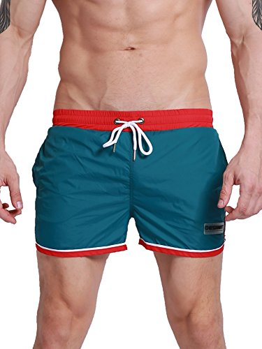Swim Trunks Retro (Neleus Mens Athletic Shorts with Pockets, 0803  Green, USA S , Asia L(Fit Waist:29-31 inches))