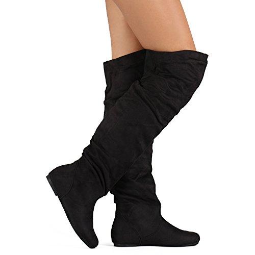 Frauen Overknee Slouchy Flache Stiefel Kniehohe Niedrige Ferse Schuhe Oberschenkel Hohe Stiefel Schwarzes Wildleder