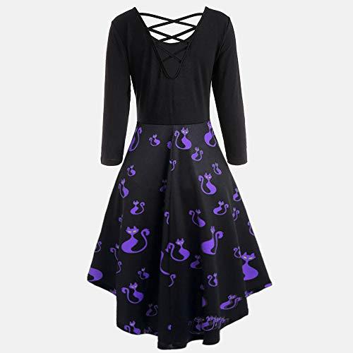 Manches Robe Halloween Imprimer Bringbring Femme Robes Violet1 Dcontractes Creuses Longues Flare Party Bat wOBxaAqt