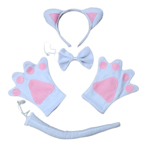 ACTLATI 5 Pcs/Set Cute Headband Tail Paws Bowtie Cosplay Party Cat Ears Child Kids Fancy Dress Kit White