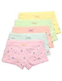Girls' Panties Flower Underwear Colorful Boyshort Hipster Kids Briefs 5 Pack Set