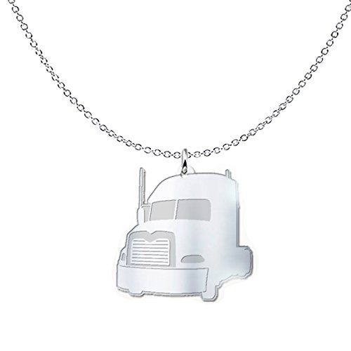 mmandiDESIGNS Mack Truck Freeform Pendant Necklace - Tractor Unit Design - Truck Driver Gift .925 Solid Sterling Silver