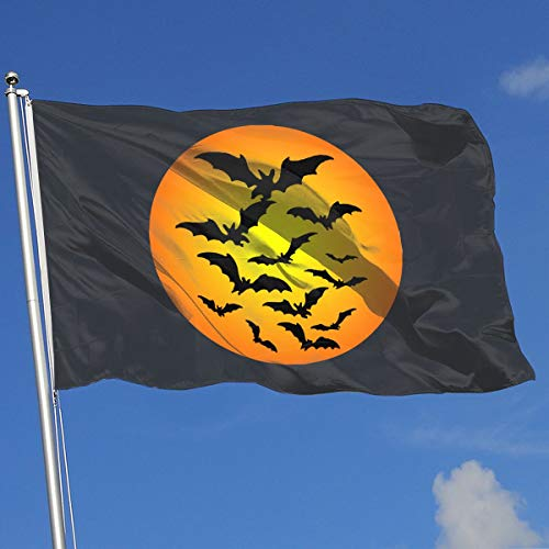Halloween Bat Moon Clipart 100% Polyester Single Layer Translucent Flags, Fashion 3 X 5 Outdoor/Indoor Breeze Flag