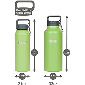 Healthy Human 32 oz Water Bottle - Cold 24 Hrs, Hot 12 Hrs. 4 Sizes & 12 Colors. Double Walled Vacuum Insulated Stainless Steel Thermos Flask with Carabiner & Hydro Guide. Color: Guacamole