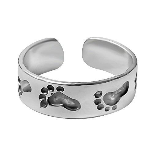 - 925 Designs Sterling Silver Footprints in The Sand Toe Ring - Oxidized