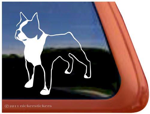(Boston Terrier Dog Vinyl Window Auto Decal Sticker)