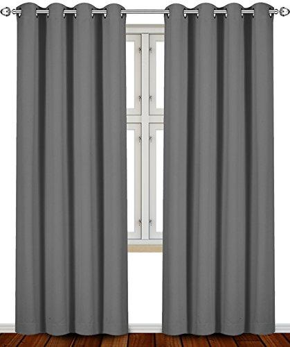 Utopia Bedding Blackout Room Darkening Curtains Window Panel Drapes (Grey Color) - 2 Panel Set, 52 inch Wide by 84 inch Long Each Panel 2 Curtains Panels Drapes