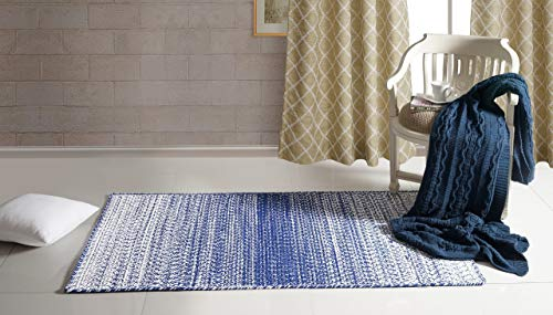 Aztocratic Arizona Granite Collection Fully Reversible Rectangular Braided Rug Hand Woven Area Rugs 100% Cotton Carpet for Bedroom Living Room High Traffic Areas (5X8 Feets, Blue and - Braided Blues Winter Rug