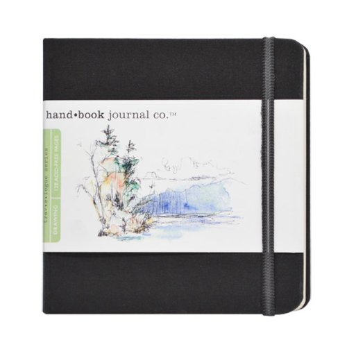 - Travelogue Drawing Book, Square 5-1/2 x 5-1/2, Ivory Black Artist Journal