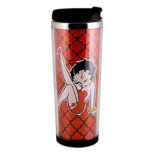 l Leg Kick Stainless Steel Coffee Tumbler, 12-Ounce, Red (Betty Boop Angel)