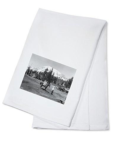 (OKSLO Girls on Horseback at Mount Rainier Photograph (100% Cotton Kitchen Towel))