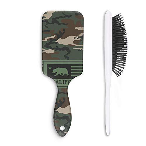 - LYIN camo california bear flag Print Hair Brush Pain Free Boar Bristle Paddle Hairbrush for Women Men Kids Girls