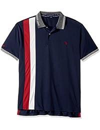 Men's Slim Fit Color Block Short Sleeve Poly Pique Polo...