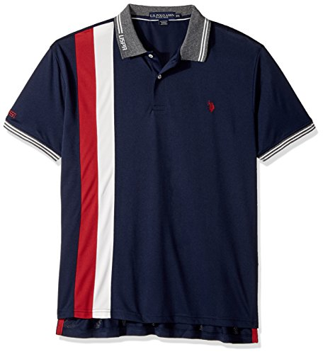 U.S. Polo Assn. Mens Slim Fit Color Block Short Sleeve Poly Pique Polo Shirt