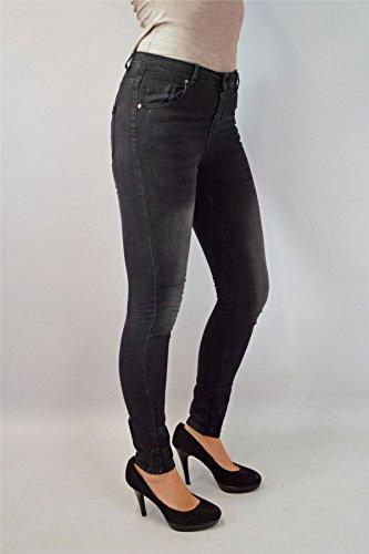 Sbiadito Di A Nero Media Colore Aderenza Ma Stile Comodo Vita Stretto Da Jeans Super Donna BwAqCY