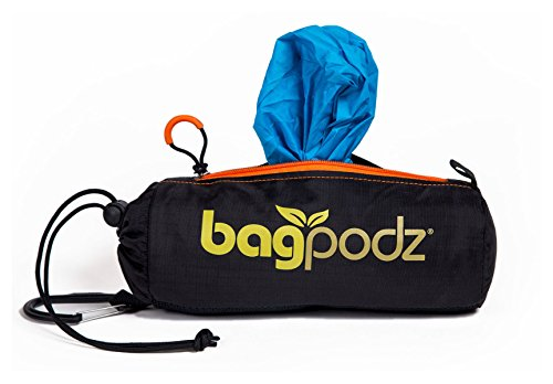BagPodz Reusable Shopping Bags – Includes 10 Foldable Bags Inside a Compact Pod with Carry Clip – Super Strong Nylon…