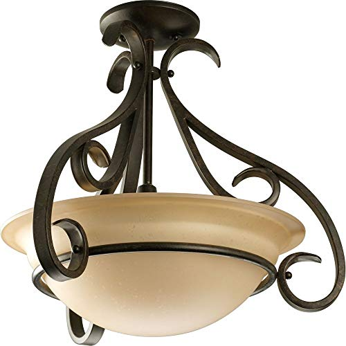 Collection Single Light Pendant Chandelier - Progress Lighting P3843-77 3-Light Semi-Flush with Tea Stained Bell-Shaped Glass Bowl and Squared Scrolls and Arms, Forged Bronze