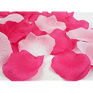 1000PCS Decorative Aisle Runner Flower Girl Basket Petals for Wedding Confetti Cones Engagement Decorations Reception Table Scatter Hot Pink Mixed White 108