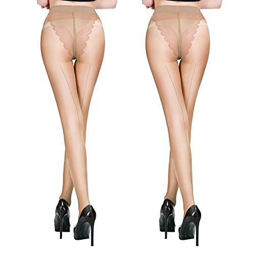 FANCAME Women's Sheer Control Top Tights Back Seam Compression Pantyhose Socks 2 Pack (Small, Nude ¡Á 2)