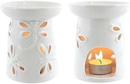 Jones Home and Gift Quemador de incienso - Blanco Esmaltado - Diseño Libélula