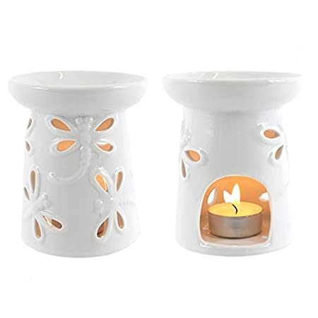 Jones Home and Gift Dragonfly Oil Burner - white glazed,: Amazon.co ...