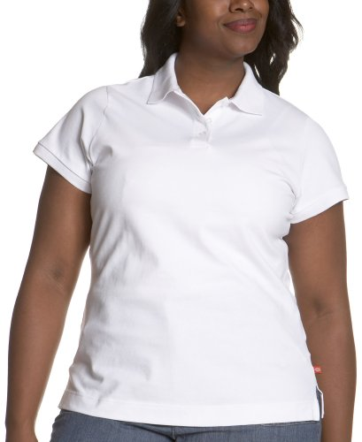 Dickies Girl Juniors Plus Size Short Sleeve 3 Button Pique Polo,White,4X