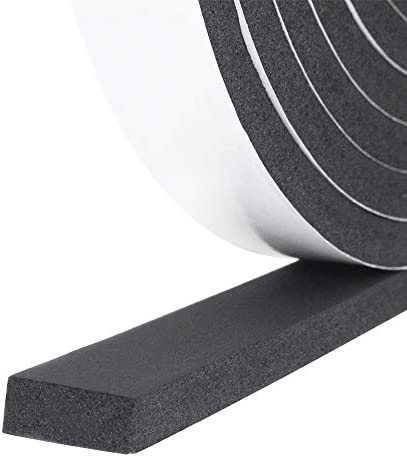 Foam Insulation Tape self Adhesive,Weather Stripping for Doors and Windows,Sound Proof soundproofing Door Seal,Weatherstrip,Pipe Cooling Air Conditioning Seal Strip W:1In xT: 1//8In XL: 33Ft