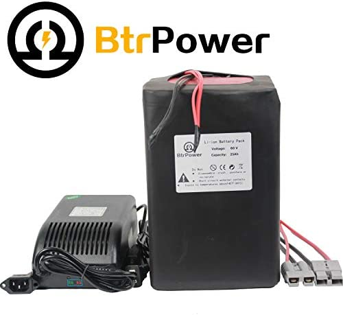 60V 25Ah Ebike Battery Lithium ion Battery Pack with 5A Charger + 50A BMS for 1500W Electric Bicycle Scooter Motor