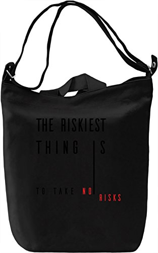 Take a Risk Borsa Giornaliera Canvas Canvas Day Bag| 100% Premium Cotton Canvas| DTG Printing|