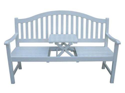 3-Sitzer Gartenbank, Bank mit ausklappbarem Tisch, massives Eukalyptusholz, weiß lackiert