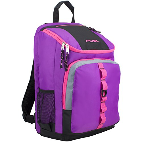 Price comparison product image Fuel Top Load Sport Backpack with Side Tech Compartment and Ergonomic Padded Mesh Breathable Back, Grape Sizzle/Pink Trim