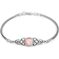 """925 Sterling Silver Genuine Rose Quartz Celtic Trinity Knot Triquetra Triskelion Trikele Bracelet 8"""""""