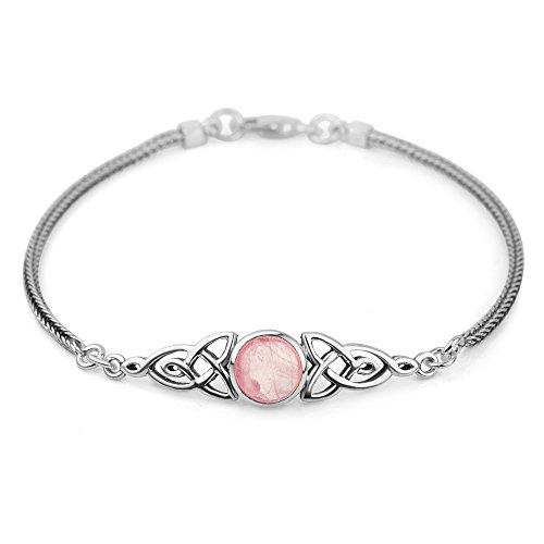 925 Sterling Silver Genuine Rose Quartz Celtic Trinity Knot Triquetra Triskelion Trikele Bracelet 8
