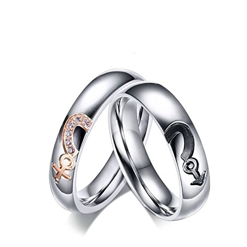 Beydodo Rings His and Hers Stainless Steel Rings Couple Puzzle Heart Male and Female Signs Size 9 & 10 by Beydodo