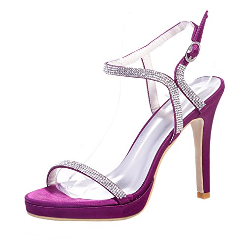 Clearbridal Women's Satin Open Toe Bridal Sandal for Wedding Prom Evening Party Shoes with Crystal ZXF5915-32 Purple cW7fe